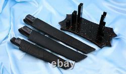 Custom Japan Tanto Author's Wootz Bulat steel craft knife set Black Ronin