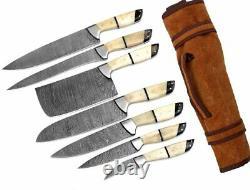 Custom Made Damascus Steel 7 pcs of Professional Chef Kitchen Knife Set