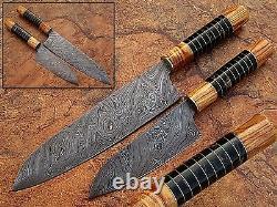 Custom Made Damascus Steel Chef Knife Olive Wood & Buffalo Horn 2 Knives Set