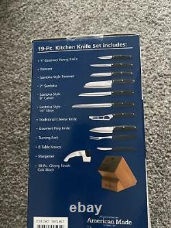 Cutco 19 Pc Kitchen Knife Set Cherry Wood Stand(BRAND NEW SEALED BOX)