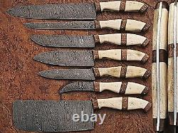 DAMASCUS KITCHEN KNIVES SET CUSTOM MADE BLADE 7 Pc's. MH-07-C