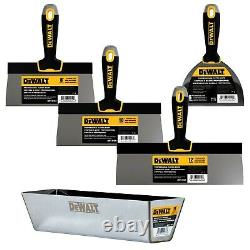 DEWALT Taping Knife Set Stainless Steel 8-10-12 with 14 Mud Pan + 6 Putty Knife