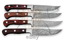Damascus Steel Blades, STEAK Knife set 04 piece