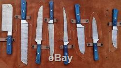Damascus Steel Custom Handmade Kitchen Knife Set 8pcs With Steel Bolster Handle