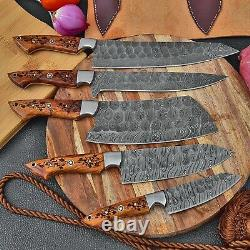 Damascus Steel Kitchen Chef Knife Set Chef's 5 Knives With Free Leather Roll Bag