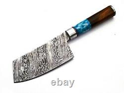 Damascus Steel Kitchen Knife 7pc Set With leather BAG, Razor sharp, DKS7H