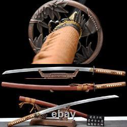 Damascus folded steel Japanese Katana set 3 Samurai Swords Real Combat Knives
