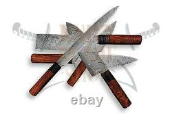 Damascus steel PROFESSIONAL'S CHEF KNIFE SET (5 PIECE) ROSE WOOD handle