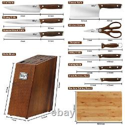 Deco Chef 16pc Wooden Knife Set with Stainless Steel Blades, Shears and more