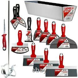 Drywall Finishing Tool Set 14pc CS BS Taping Knife Putty Knife Mud Mixer with Pan
