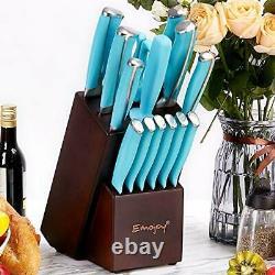 Emojoy 15pcs Kitchen Knife Set with Wooden Block German Stainless Steel