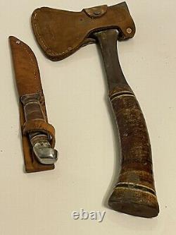Estwing Fixed Blade Knife Hatchet Axe Number 1 Leather Sheath Set Vintage Lot