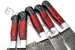 Everest Hunt 5pcs Custom Made Damascus Steel Kitchen Chef Knife Set 3021