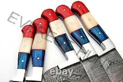 Everest Hunt 5pcs Custom Made Damascus Steel Kitchen Chef Knife Set 3022