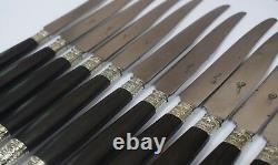 French Antique Louis XVI Style Set of 12 Ebony Handle Dinner Knife Knives