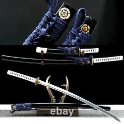Full Tang High Carbon Steel Japanese Samurai Sword Set Katana+Tanto Sharp Knife