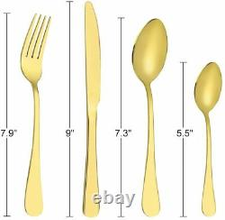 Gold Silverware Set 24Pieces Gold Forged Stainless Steel GOLD Flatware Set I NEW