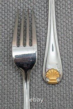Golden Gorham Shell Stainless Steel Flatware Set Service for 10 59 Pieces