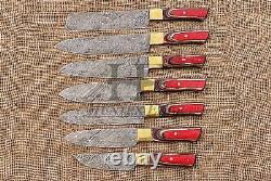HUNTEX Custom Handmade Damascus Steel 7 Pcs Pakka Wood Kitchen Camping Knife Set