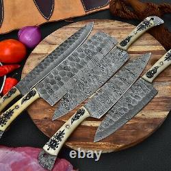 Hand Forged Damascus Steel 5Pcs Professional Cutlery Kitchen Chef Knives Set