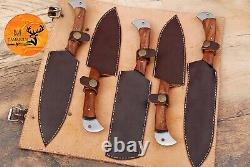 Hand Forged Damascus Steel Chef Kitchen Knife Set With Wood Handle Aj 1767