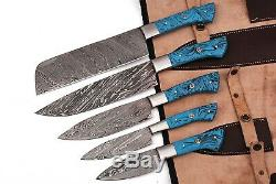 Hand Forged Damascus Steel Chef Knife Kitchen Set With Resin Handle