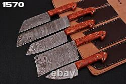 Hand Forged Damascus Steel Chef Knife Kitchen Set With Resin Handle Q958
