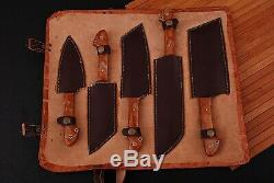 Hand Forged Damascus Steel Chef Knife Kitchen Set With Resin Handle Q-958
