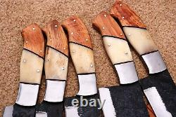 Hand forged High Carbon Steel Chef Knives Set Kitchen Knife Set /Bone & Wood