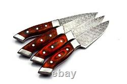 Handmade 4 Pcs Steak Knife Set Damascus Steel Kitchen Knife Set With Leather Bag