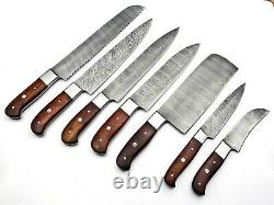 Handmade Damascus Steel Kitchen Knife Set 7 pcs Full Tang With Leather Bag