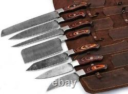 Handmade Damascus Steel chef knife set with Leather Roll Kit