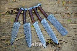 Handmade Hand Forged Damascus Steel Chef Knife Set With Leather Bag