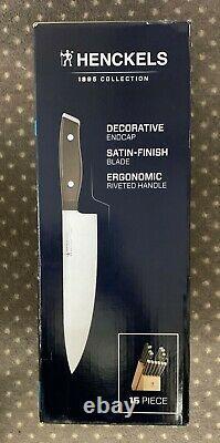 Henckels 15-Piece Stainless Steel Kitchen Cutlery Knife Block Set Natural New