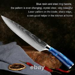 Japanese Kitchen Knife Set Damascus Pattern Chef Knives 7CR17 Stainless Steel