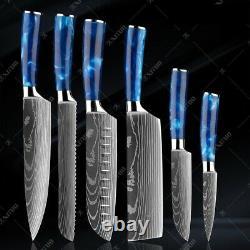 Kitchen Chef Knife Set Stainless Steel Laser Damascus Pattern Sharp Cleaver Edge