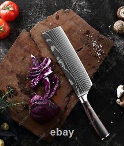 Kitchen Chef Knife Set Stainless Steel Laser Damascus Pattern Sharp Cleaver Gift