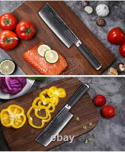 Kitchen Knife Set Damascus Japanese VG10 Steel Chef Knife Santoku Nakiri 5PCS