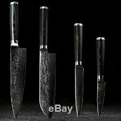 Kitchen Knife Set Japanese Damascus VG10 Steel 8'' Chef Knife Santoku Knife 4PCS
