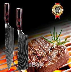 Knife Set 8 Kitchen Chef Japanese Damascus Steel Knives Sharp Cleaver Gift Knife
