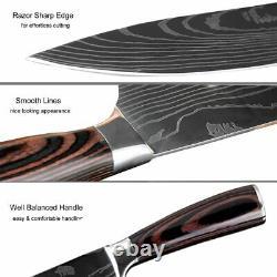 Knife Set 8 Kitchen Chef Japanese Damascus Steel Knives Sharp Cleaver Knife Gift