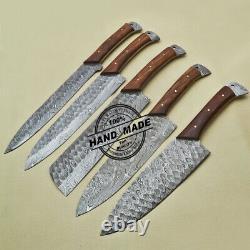 Lot Of 5 PCs Damascus Kitchen Knife Handmade Damascus Steel Kitchen Set 1914