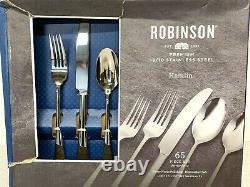 NIB Robinson Premium 18/10 Stainless Steel Hamlin 65-Piece Set Flatware