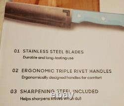 New 14pc Aqua Sky/st Steel Knife Set/block Sharper Image Kitchenaid/cuisinart