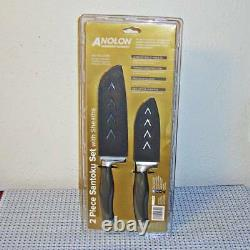 New Anolon Suregrip Japanese Stainless Steel Santoku 2-pc Knife Set With Sheaths