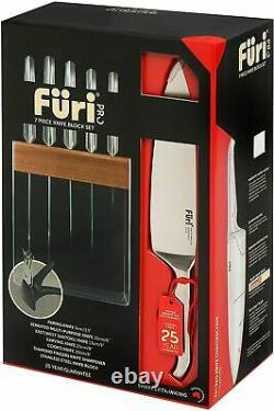 New FURI Pro Stainless Steel 7 Piece Knife Block Set Diamond Sharpener