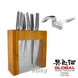 New GLOBAL IKASU PLUS Mino SHARPENER Knife Block Set 7 Piece Stainless Steel