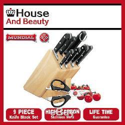 New MUNDIAL Bonza 9 Piece Knife Block Set Wooden Block Scissors Stainless Steel