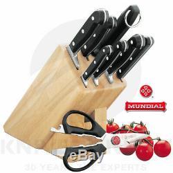 New Mundial Bonza 9 Piece Knife Block Set Wooden 9pc Stainless Steel