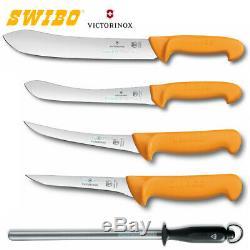 New SWIBO 5 piece Butcher Knife Set Skinning Boning Sharpening Steel 5pc